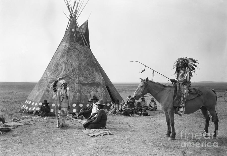 Native Americans Encampment Photograph by Bettmann