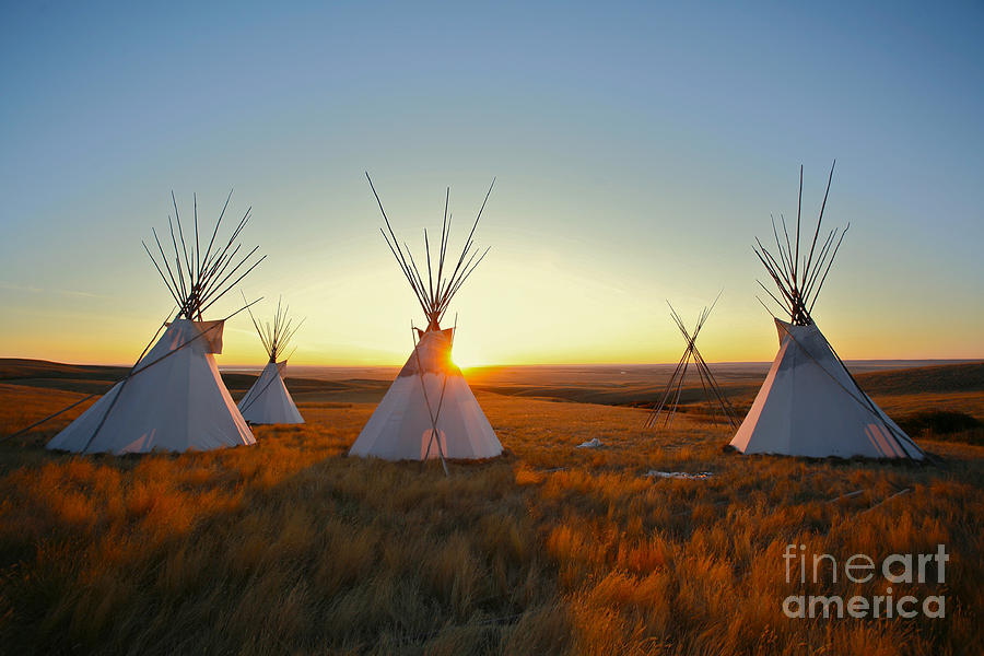 Sunrise Photograph - Native North American Tipis At Sunrise by Sky Light Pictures