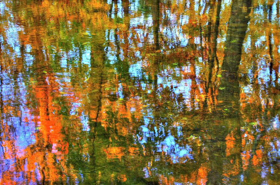 Natural Abstract - Refections in French Creek Near the Rapp's Dam Covered Bridge - Chester County PA by Michael Mazaika