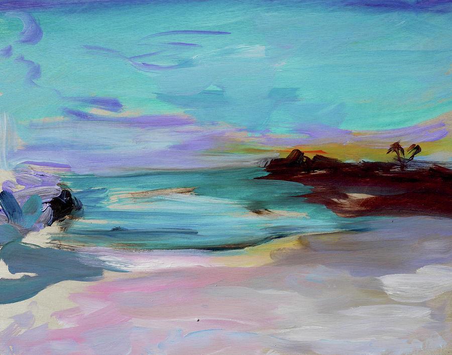 Plein Air Painting - Natural Bridges Beach Ca by Joseph Demaree