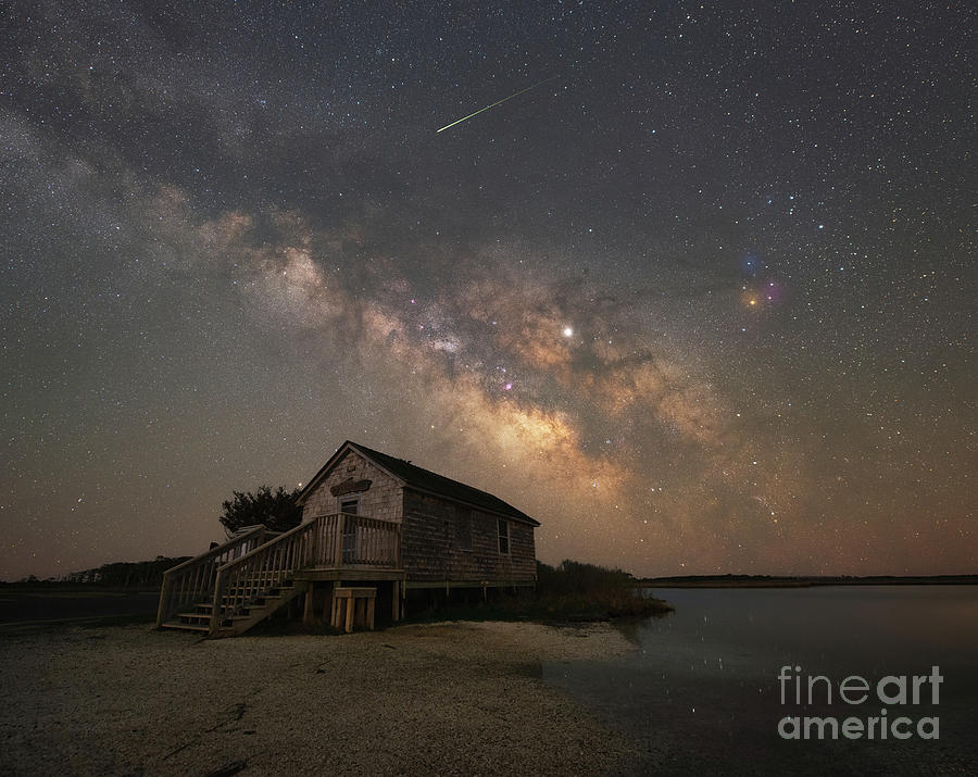 Marsh Photograph - Naturalist Shack Under The Milky Way by Michael Ver Sprill