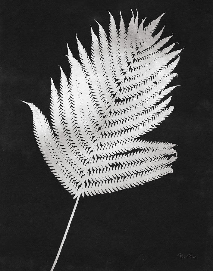 Black And White Painting - Nature By The Lake Ferns IIi Black Crop by Piper Rhue