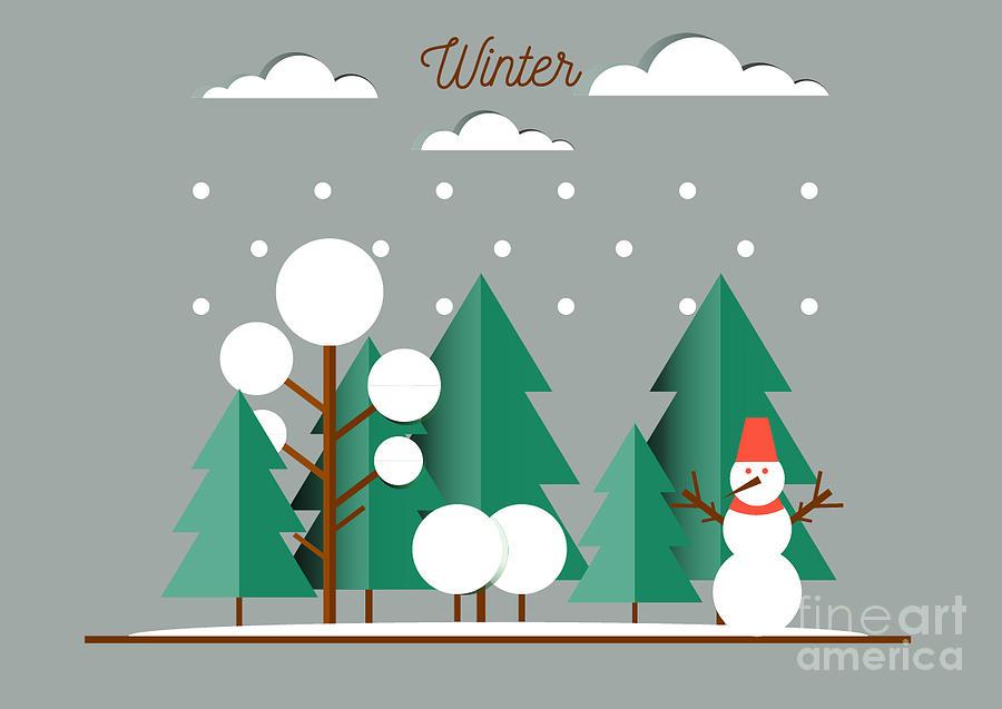 Celebrity Digital Art - Nature, Winter Landscape With Christmas by Oxygen 8