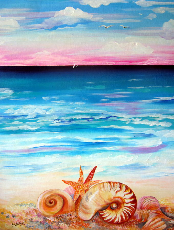 Nautilus and shells by the beach by Roberto Gagliardi