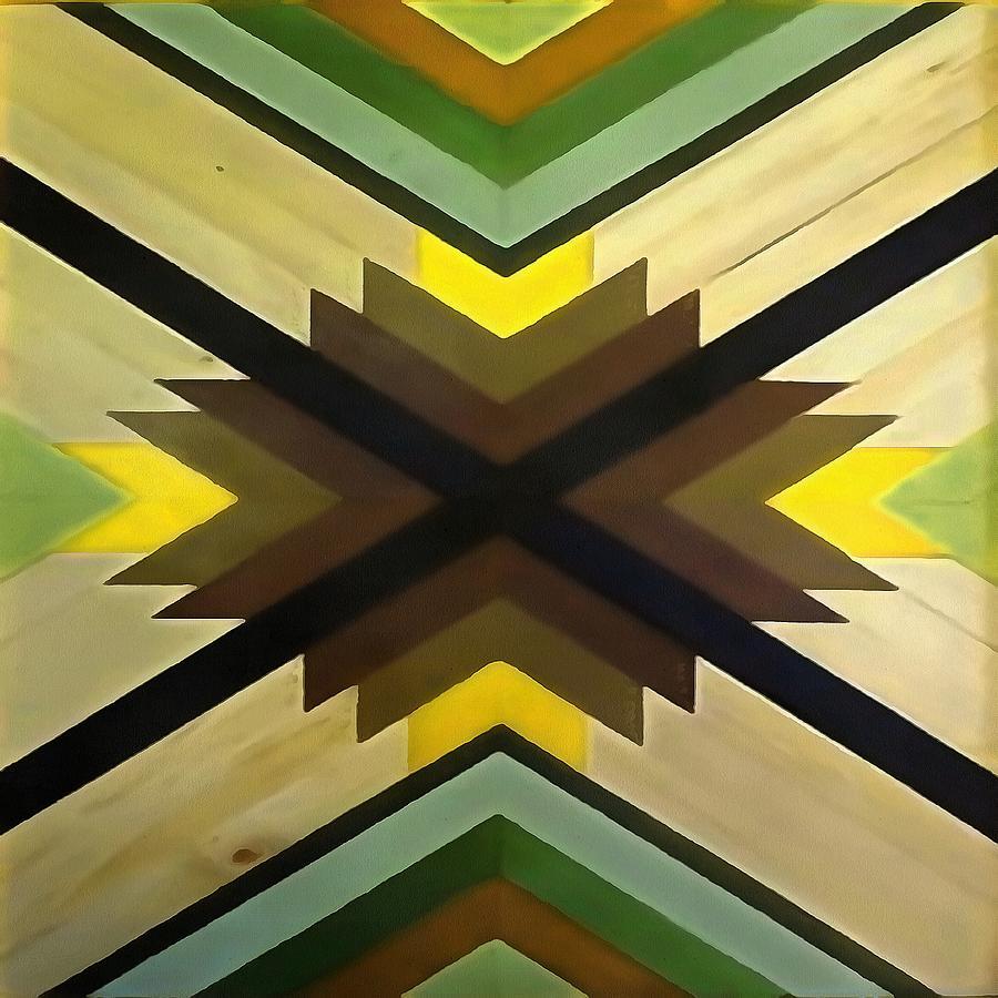 Navaho Vibes Geometric Pattern - Black Brown Yellow by Taiche Acrylic Art