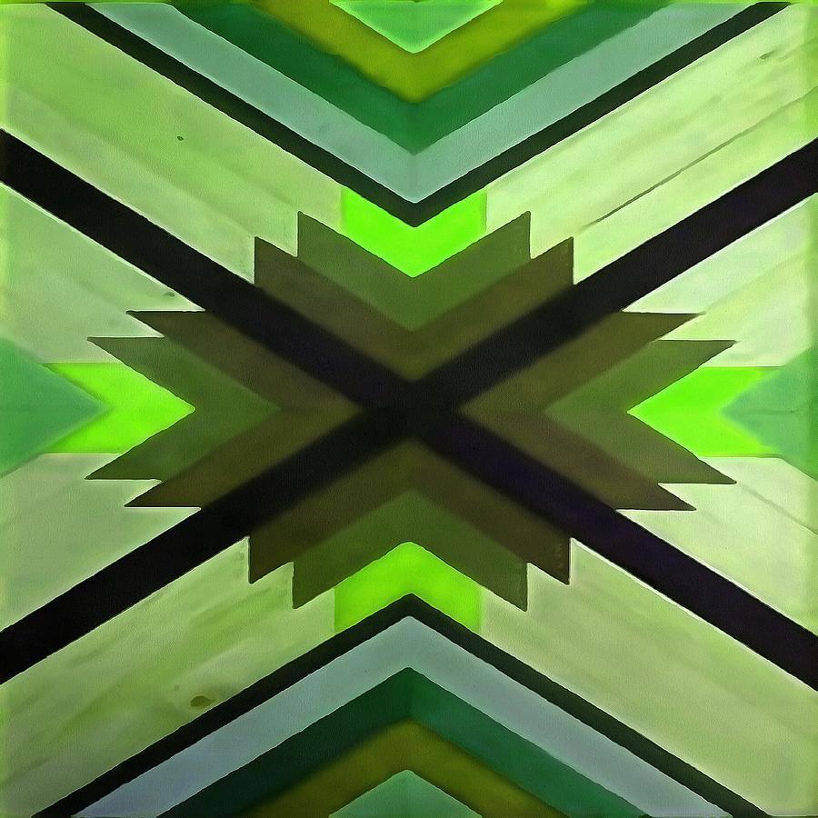Navaho Vibes Geometric Pattern Black Olive Lime by Taiche Acrylic Art