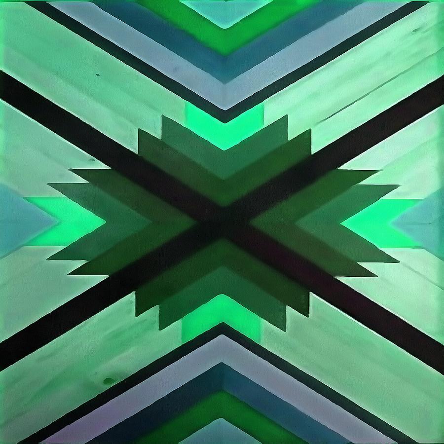 Navaho Vibes Geometric Pattern - Black Pine Aqua by Taiche Acrylic Art