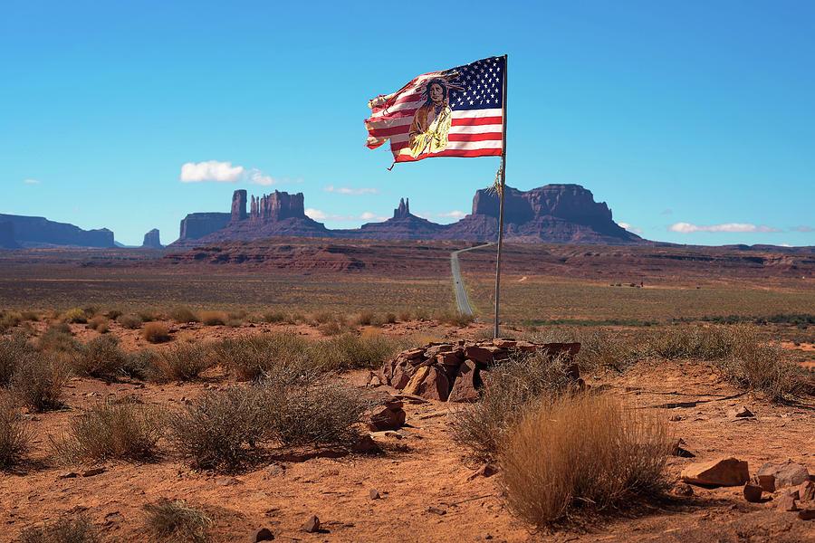 Navajo American Flag In Monument Valley Utah Photograph By Miroslav Liska