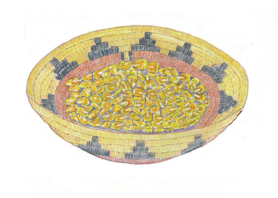 Navajo Basket Painting - Navajo Basket With Corn Seeds by Deryn Van der Tang