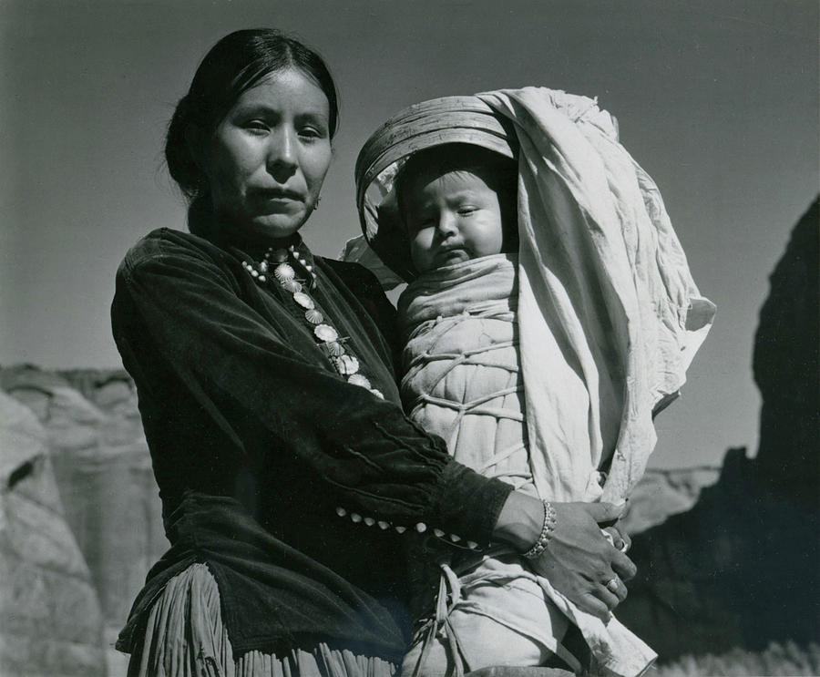 Navajo Woman And Infant, Canyon De Photograph by Archive Photos