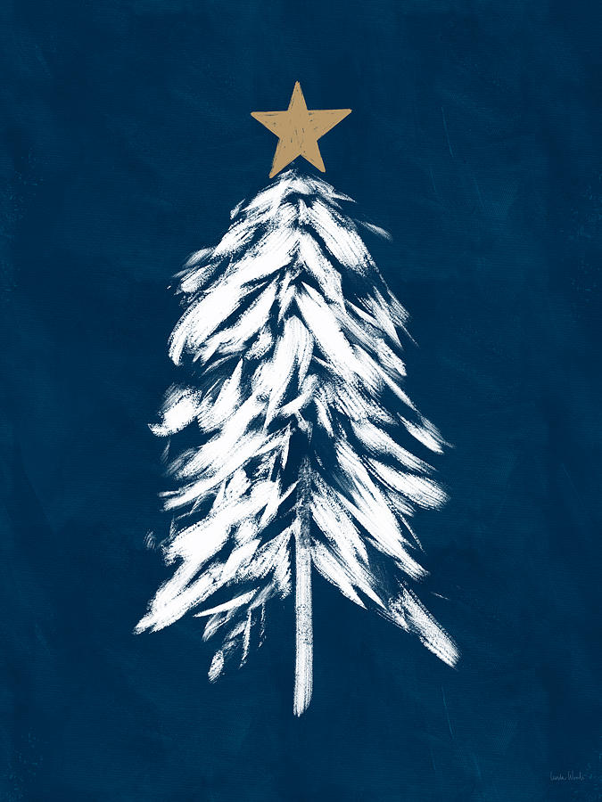 Christmas Mixed Media - Navy And White Christmas Tree 2- Art By Linda Woods by Linda Woods