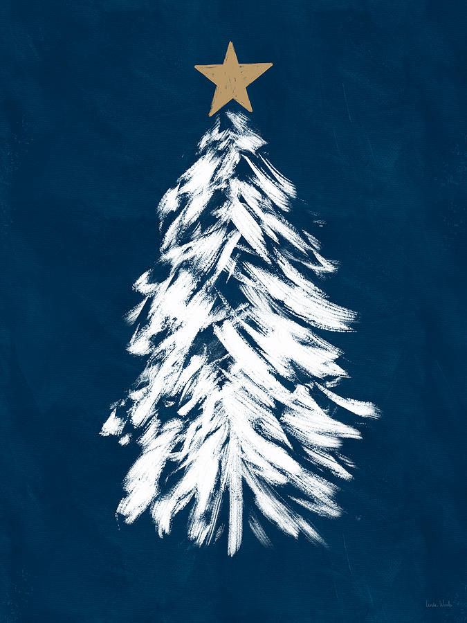 Christmas Mixed Media - Navy And White Christmas Tree 3- Art By Linda Woods by Linda Woods