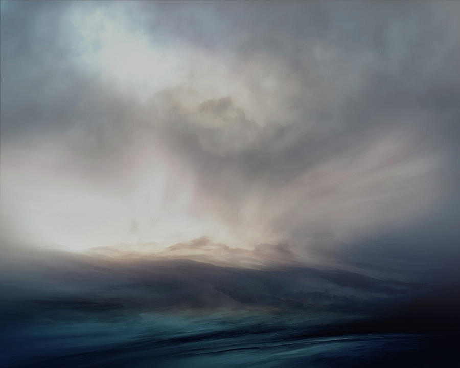 Atmosphere Mixed Media - Navy Blue Sea by Lonnie Christopher