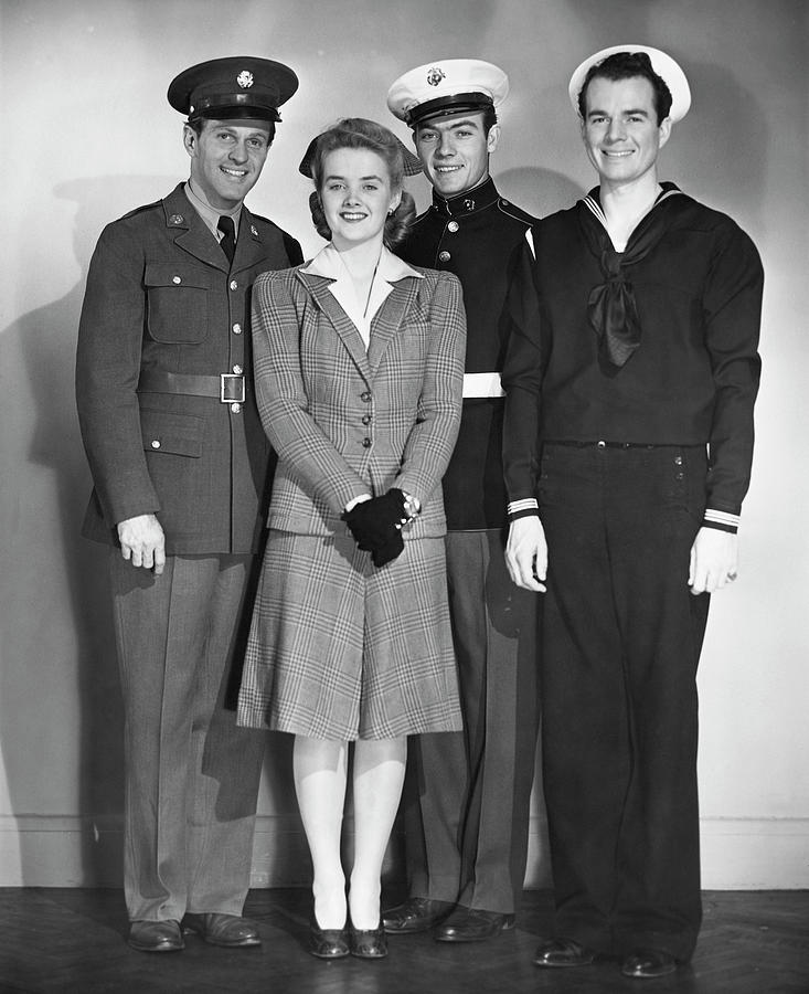 Navy, Marine, Army Officers Photograph by George Marks
