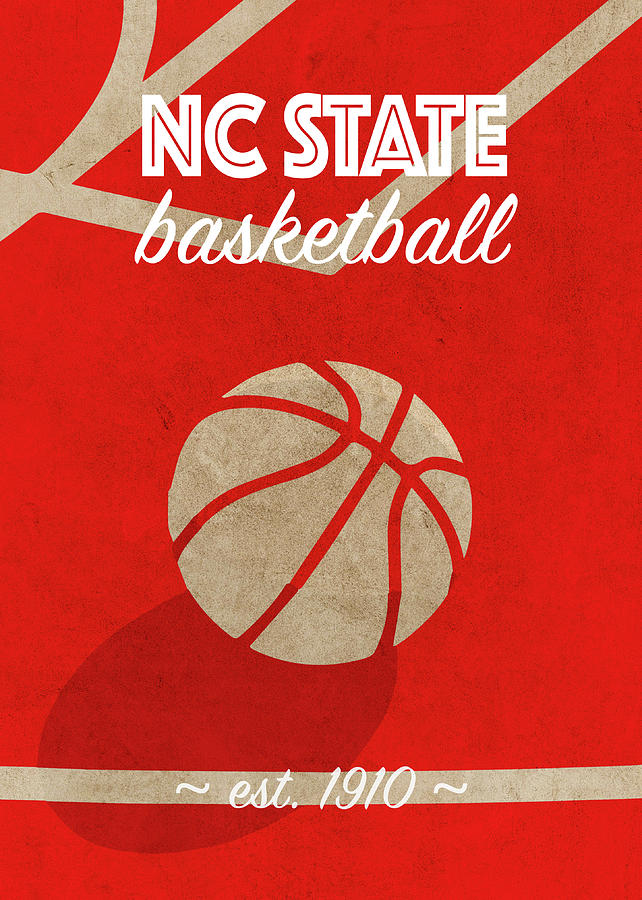 Nc State Mixed Media - Nc State College Basketball Retro Vintage University Team Poster Series by Design Turnpike
