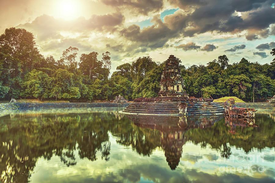 Neak Pean Temple Angkor Wat Unesco World Heritage Site Photograph