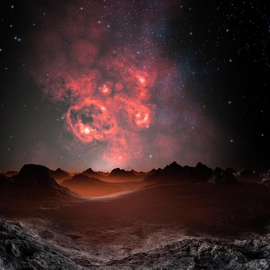 Nebula Seen From An Alien Planet Digital Art by Mehau Kulyk