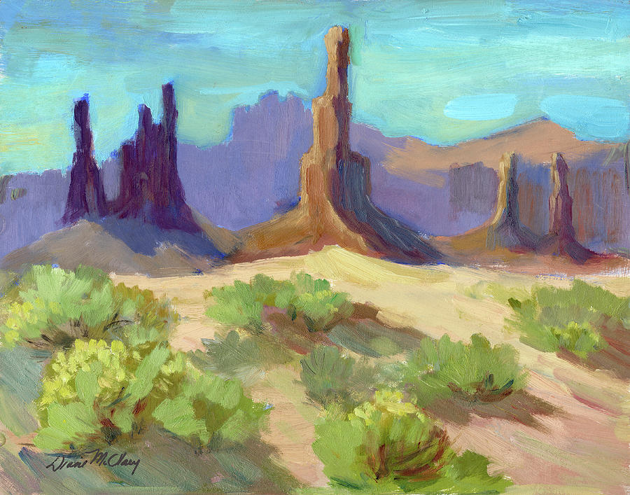 Landscape Painting - Needles Monument Valley by Diane McClary