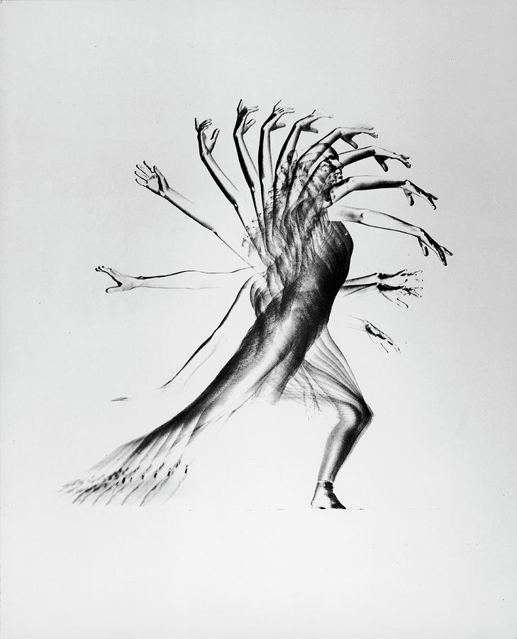 Negative Image Of Stroboscopic Study Of Photograph by Gjon Mili