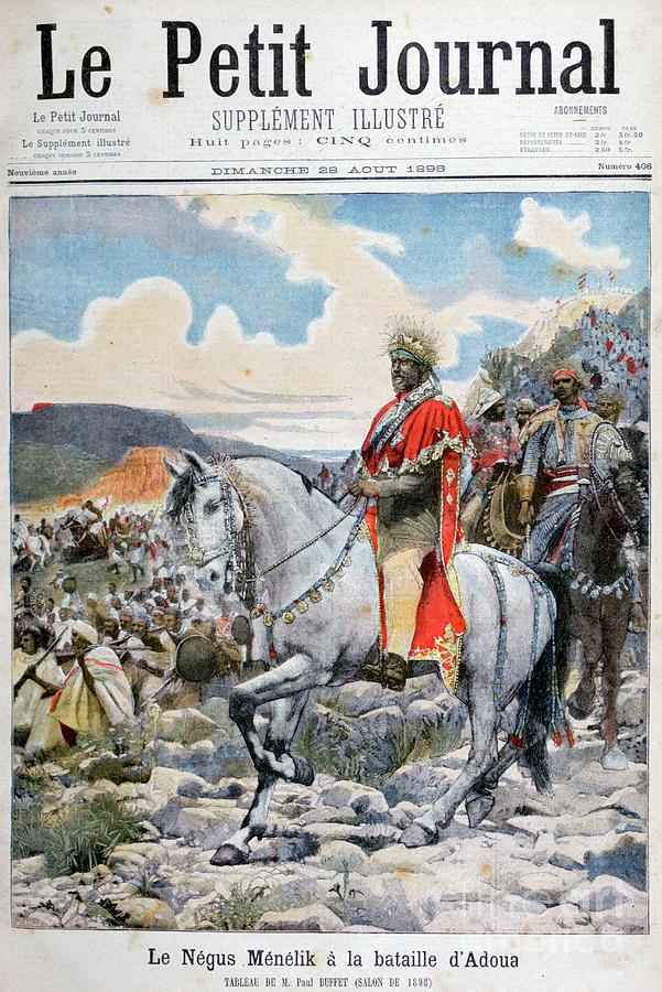 Negus Of Ethiopia, Menelik II Drawing by Print Collector