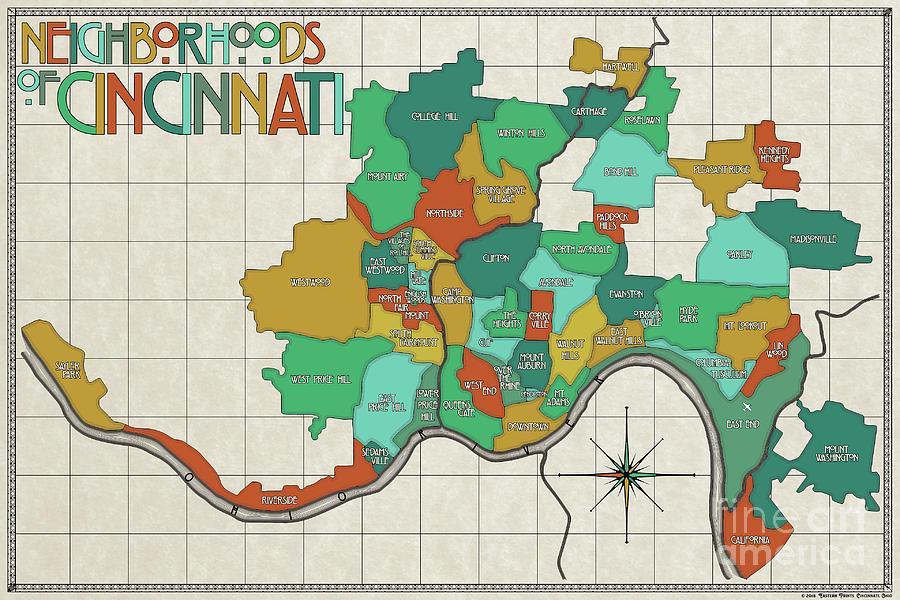 Neighborhoods Of Cincinnati I Digital Art by Eastern Prints on