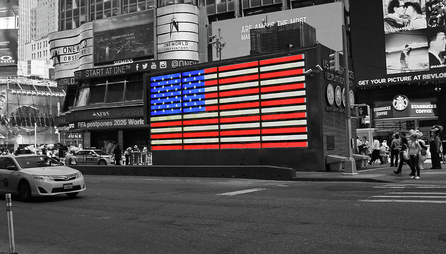 Neon American Flag 2 - Selective Color Photograph