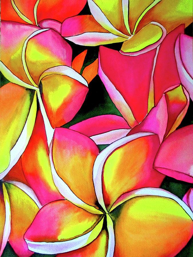 Flowers Painting - Neon Frangipanis by Sacha Grossel
