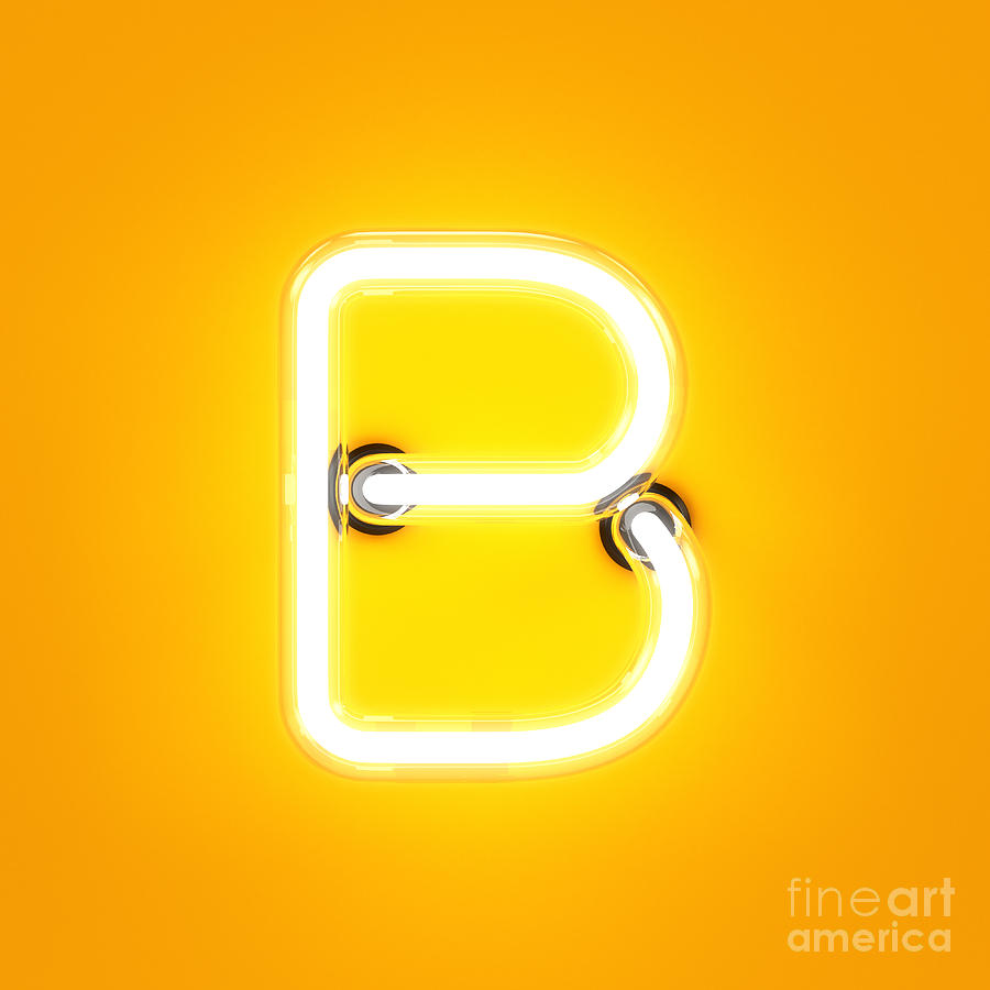 Symbol Digital Art - Neon Light Alphabet Character B Font by Dencg