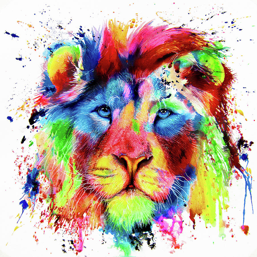 Neon Lion - colourful ink spatter painting by Peter Williams