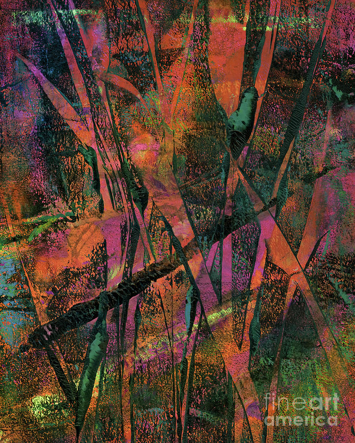 Abstract Painting - Neon Reeds by Laura L Leatherwood