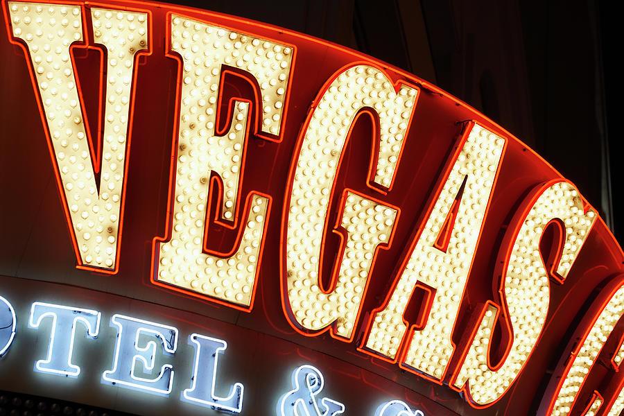 Neon Sign Displaying Vegas Photograph by Nash Photos