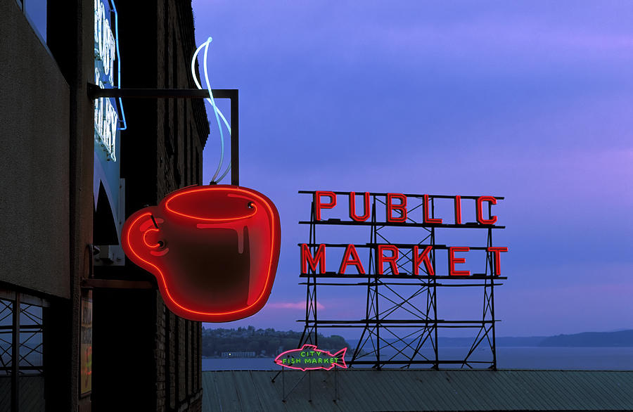 Neon Sign For Caf And Market At Dusk Photograph by Michele Falzone