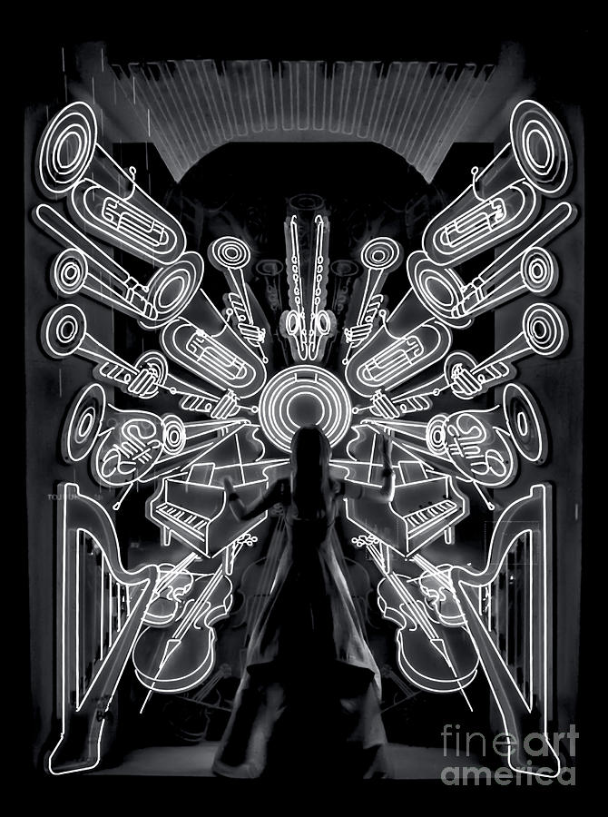 Neon Symphony in Black and White by James Aiken