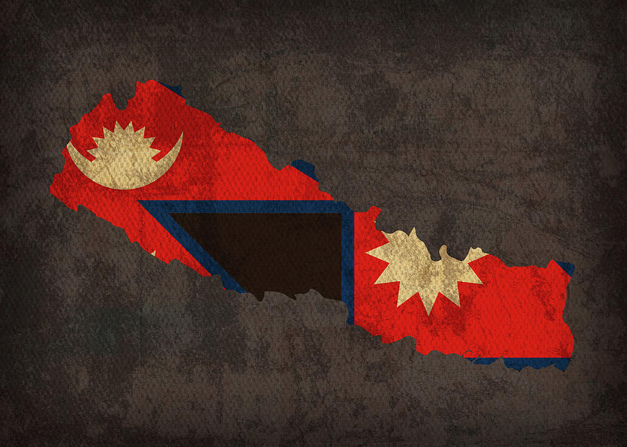 Nepal Country Flag Map