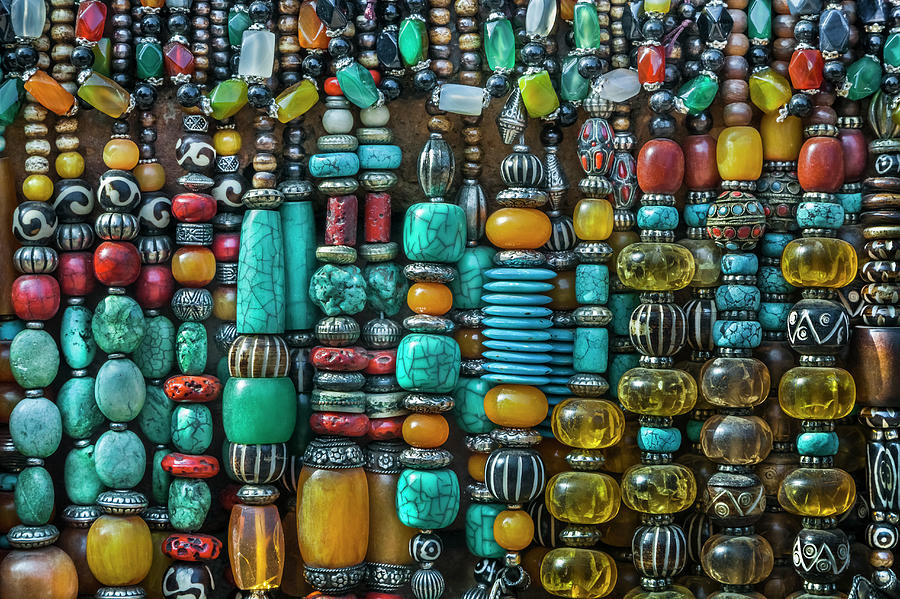 Nepalese Gem Stone Jewellery At A Photograph by Glen Allison