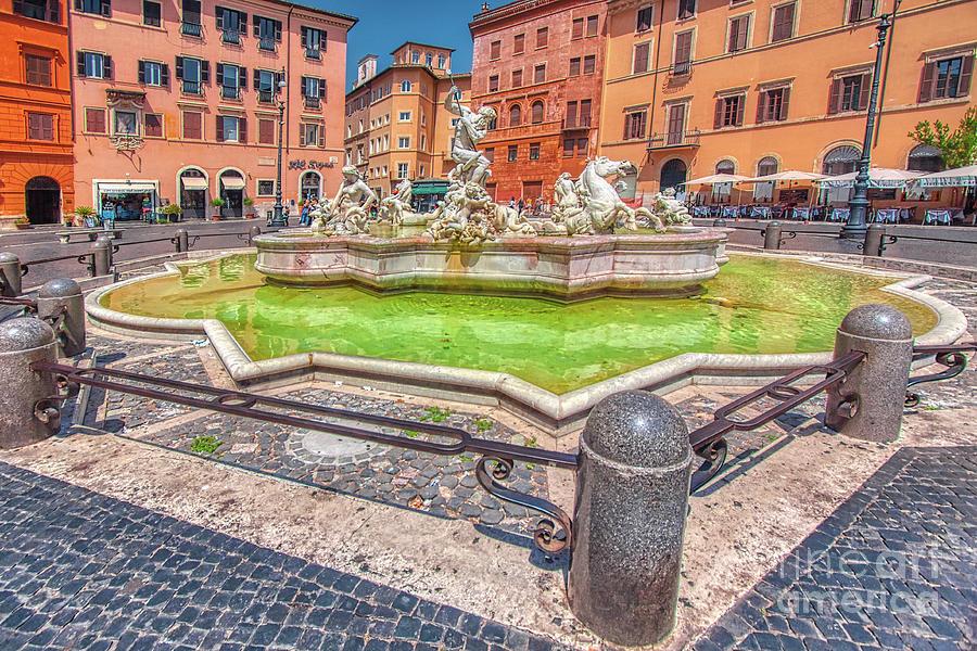 Neptune Fountain - Fontana Del Nettuno - Piazza Navona Rome Italy by Stefano Senise