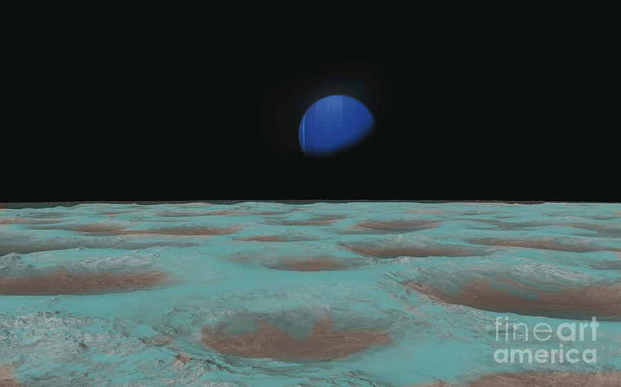 Neptune Photograph - Neptune From Triton by Tim Brown/science Photo Library