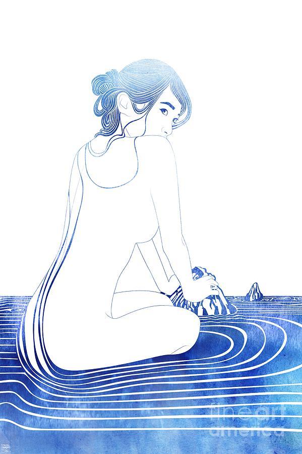 Aqua Mixed Media - Neso by Stevyn Llewellyn