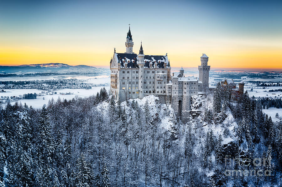 Romanesque Photograph - Neuschwanstein Castle At Sunset In by Frank Fischbach