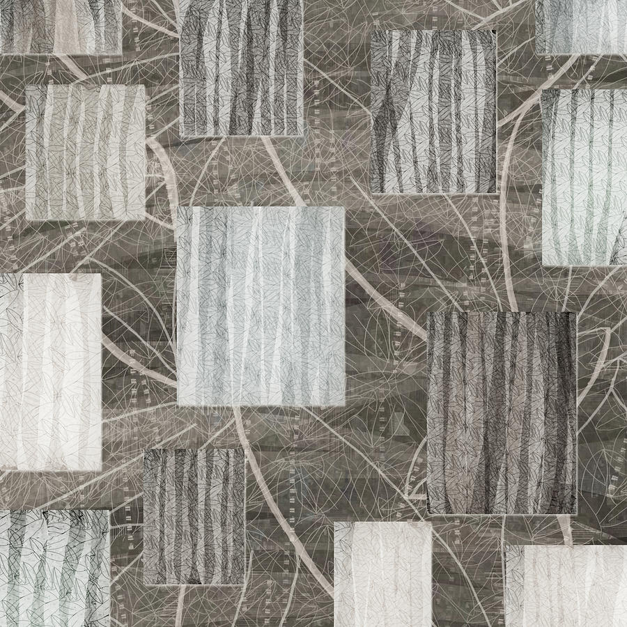 Neutral Leaf Print Squares Cream Digital Art