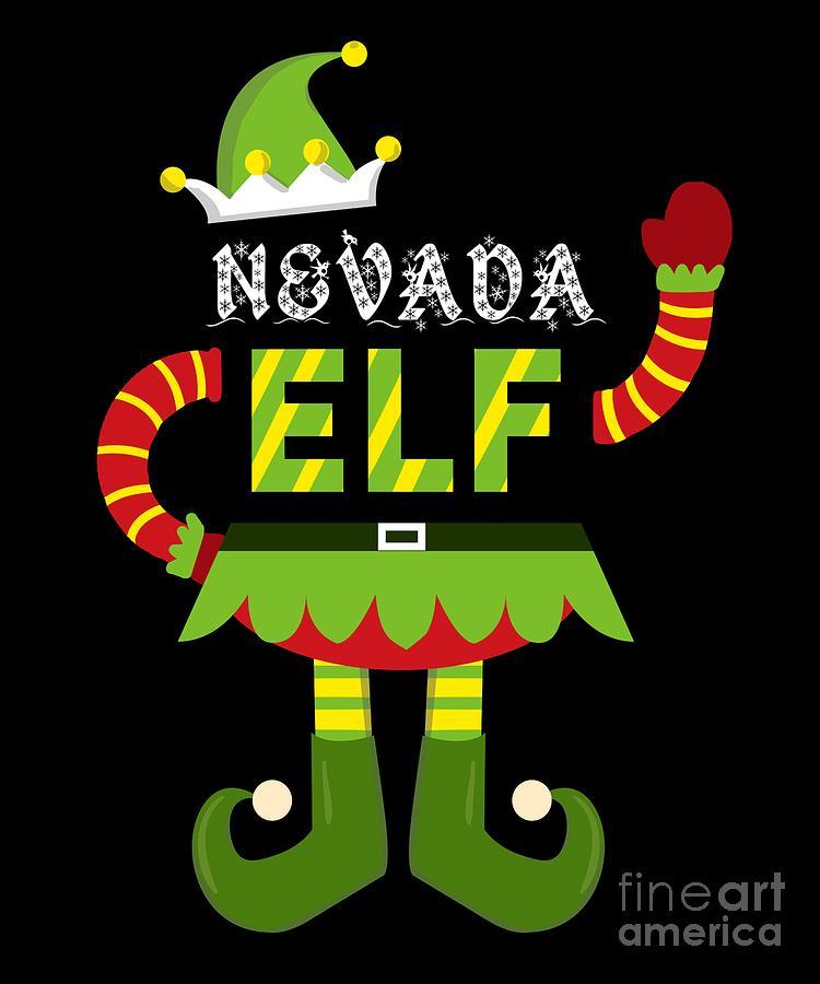 Christmas Digital Art - Nevada Elf Xmas Elf Santa Helper Christmas by TeeQueen2603