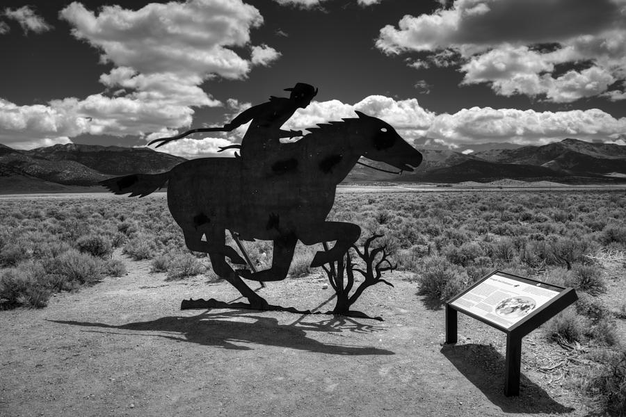 Nevada Photograph - Nevada - Pony Express Monument 001 Bw by Lance Vaughn