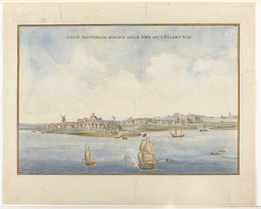Nature Painting - New Amsterdam Ofte Nue New Iorx Optt Eylant Man, Anonymous, C. 1660 by MotionAge Designs
