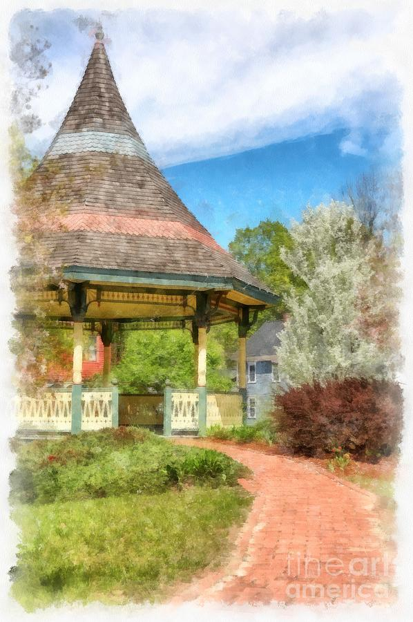 New Boston New Hampshire Gazebo Watercolor by Edward Fielding