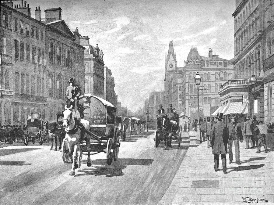 New Bridge Street, Blackfriars, 1891 Drawing by Print Collector
