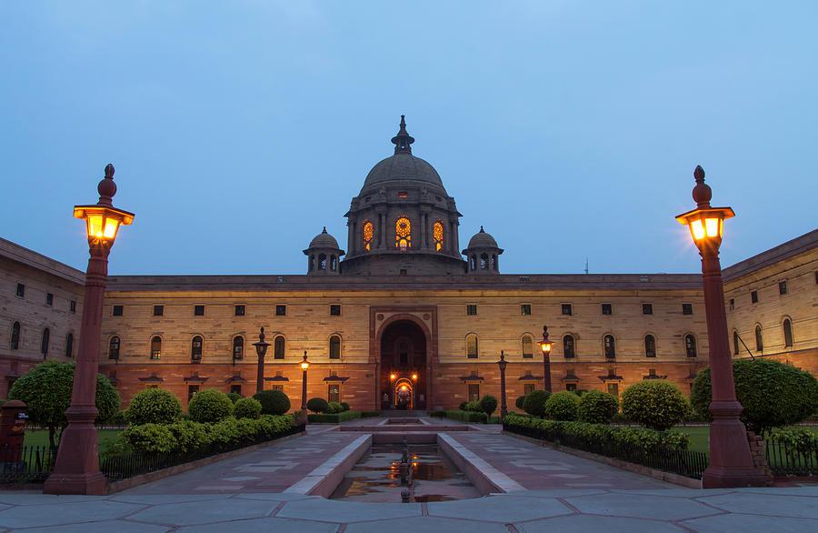 New Delhi President House At Night Photograph by Prognone