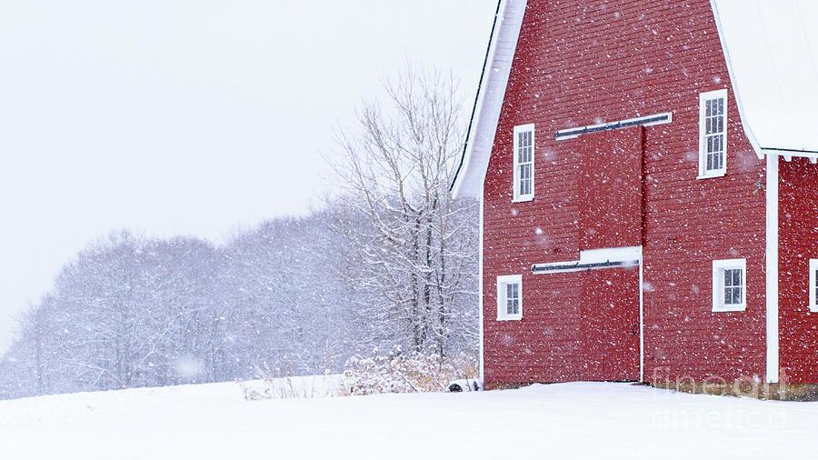 New England Snowstorm Red Barn by Edward Fielding