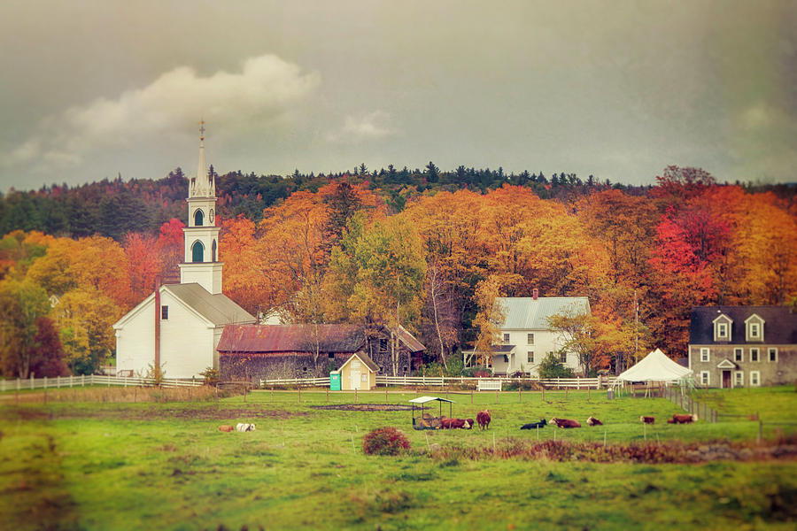 New England White Church in Autumn by Joann Vitali