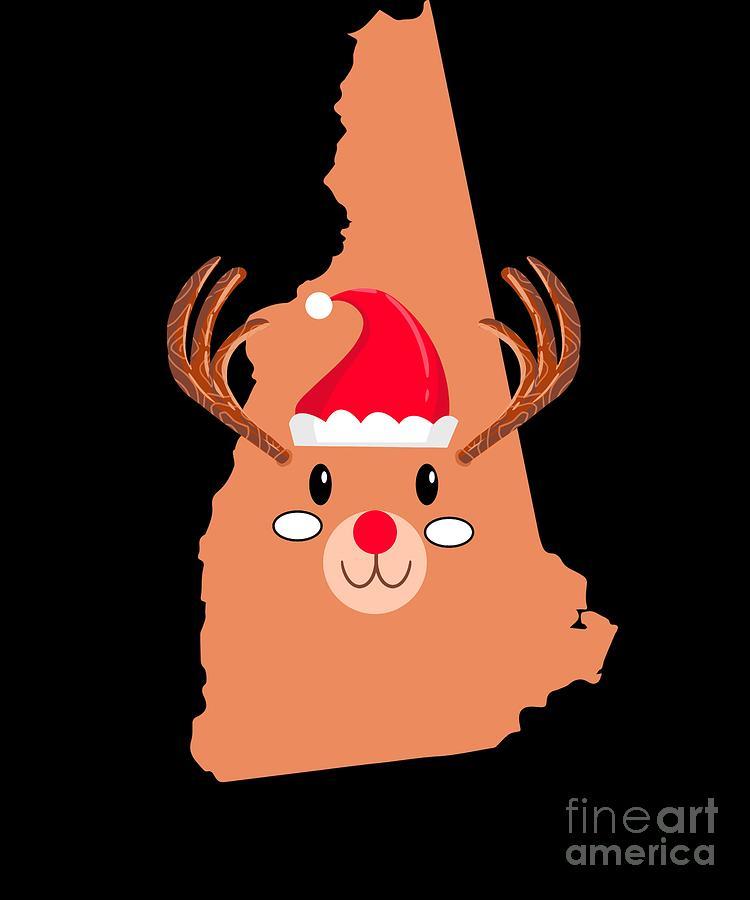 Adventure Digital Art - New Hampshire Christmas Antler Red Nose Reindeer by TeeQueen2603