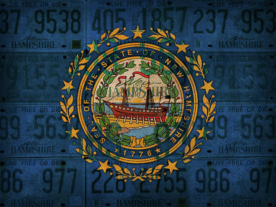 New Hampshire Mixed Media - New Hampshire State Flag License Plate Art by Design Turnpike